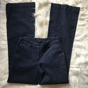 Theory Dark Wash Flared Jeans Career Size 2